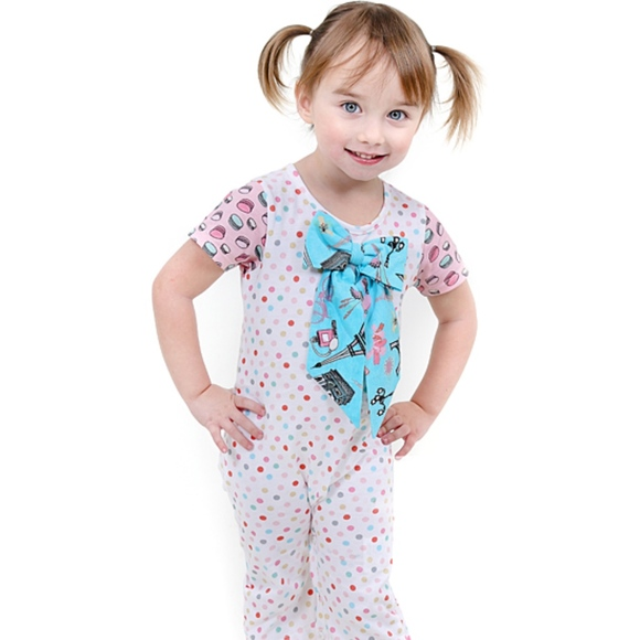 Jelly the Pug Baby Girls Bow Romper